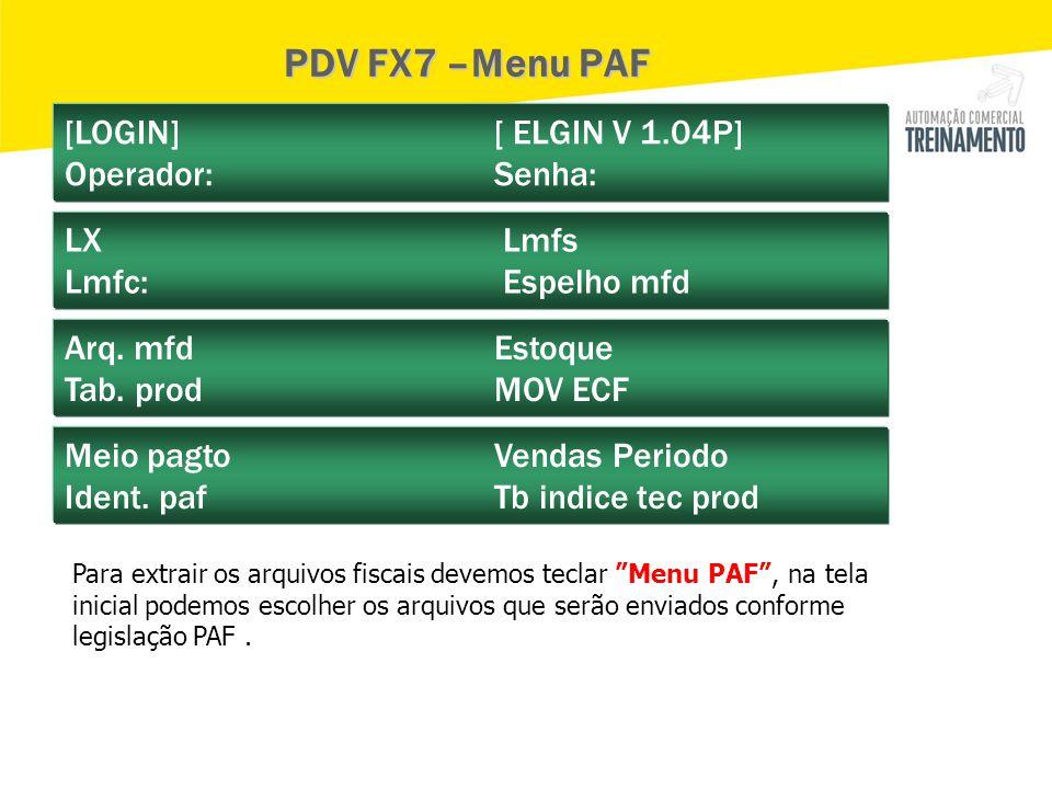 PDV FX7 –Menu PAF [LOGIN] [ ELGIN V 1.04P] Operador: Senha: LX Lmfs